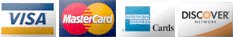 We accept Visa, MasterCard, Amex, and Discover