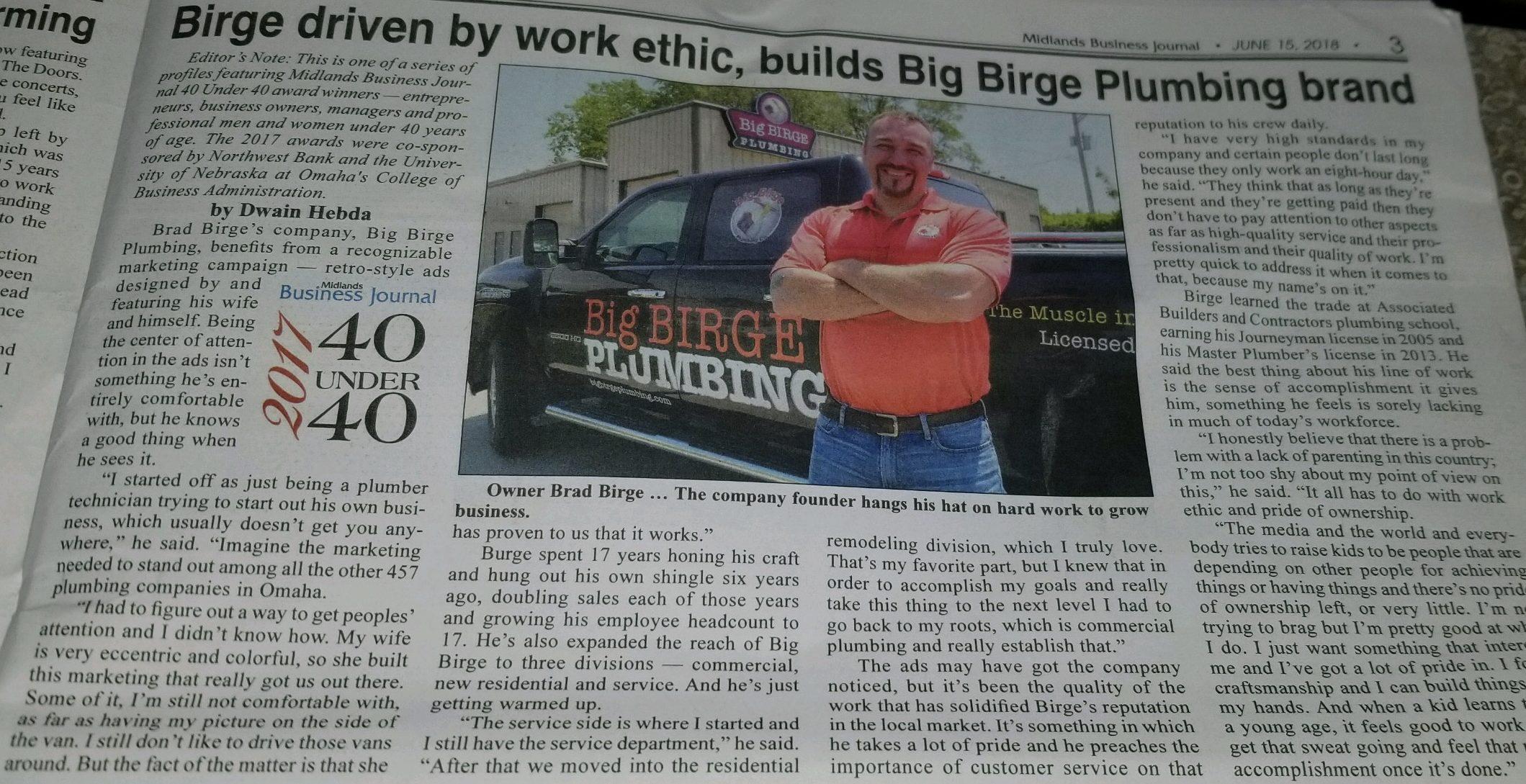 Big Birge Plumbing in Midlands Business Journal